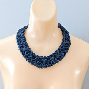 Charming Charlie Braided Beaded Necklace Navy